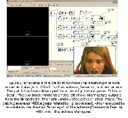 "Figure 2- an example of a patch at run-time implementing a simple movement analysis of the lips of an actress, based on a videocamera. The patch has been developed for a piece by the composer Roberto Doati. The two black windows on the left show intermediate outputs from the lip analysis. The right window shows the original image. The patch generates MIDI signals related to lip movement, which are used to re-create in real-time an ""alter ego"" of the actress (Francesca Faiella) with which the actress dialogues."